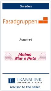 Fasadgruppen køber Malmø Mur og puts - Schrøder Translink rådgav under salg af virksomheden