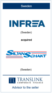 Infrea køber Siljan Schakt - Schrøder Translink rådgav under salg af virksomheden