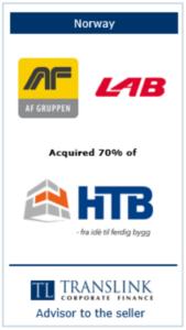 Lab køber 70% af HTB Schrøder Translink rådgav sælgeren af virksomheden