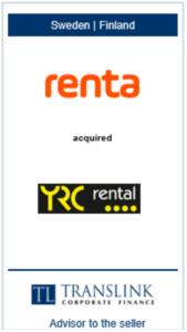 Renta køber YRC rental - Schrøder Translink rådgav under salg af virksomheden