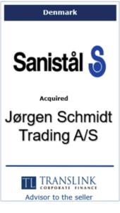 Sanistål køber Jørgen Schidt -Schrøder Translink rådgav under salg af virksomhed