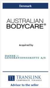 Australian bodycare - Schrøder Translink rådgav under salg af virksomhed