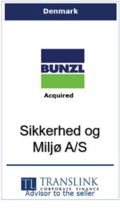 Bunzl køber sikkerhed og milhø Schrøder Translink rådgav under salg af virksomhed