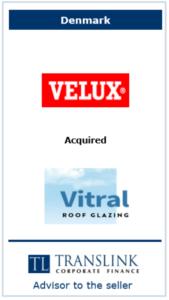 Velux køber vitral - Schrøder Translink rådgav under salg af virksomhed